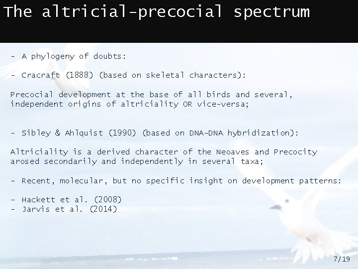 The altricial-precocial spectrum - A phylogeny of doubts: - Cracraft (1888) (based on skeletal