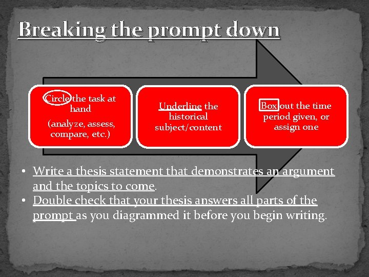 Breaking the prompt down Circle the task at hand (analyze, assess, compare, etc. )