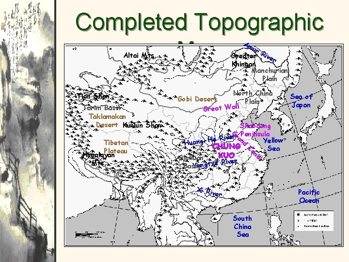 Completed Topographic Map Am ur Greater River Khingan Manchurian Plain Altai Mts. Tian Shan