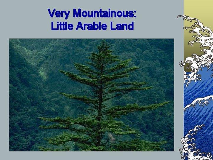 Very Mountainous: Little Arable Land