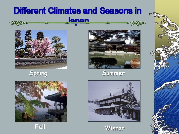 Different Climates and Seasons in Japan Spring Summer Fall Winter