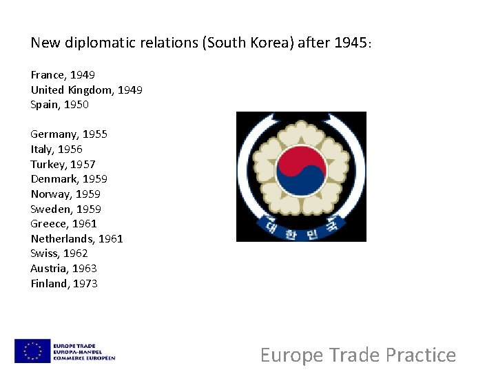 New diplomatic relations (South Korea) after 1945: France, 1949 United Kingdom, 1949 Spain, 1950