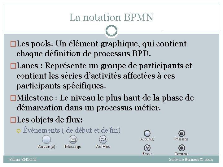 La notation BPMN �Les pools: Un élément graphique, qui contient chaque définition de processus