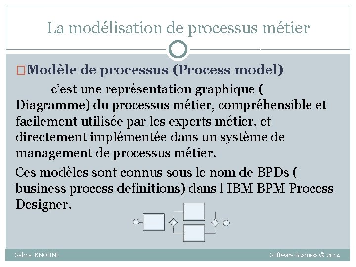 La modélisation de processus métier �Modèle de processus (Process model) c'est une représentation graphique