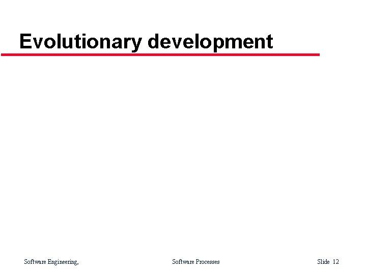 Evolutionary development Software Engineering, Software Processes Slide 12