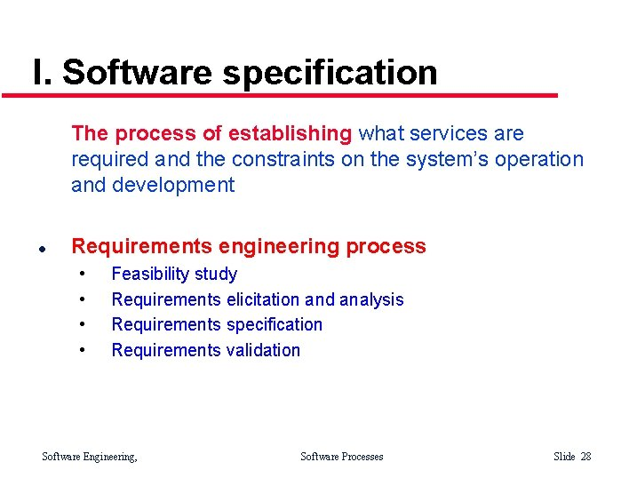 I. Software specification The process of establishing what services are required and the constraints