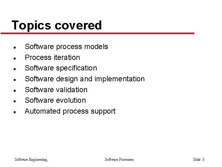 Topics covered l l l l Software process models Process iteration Software specification Software