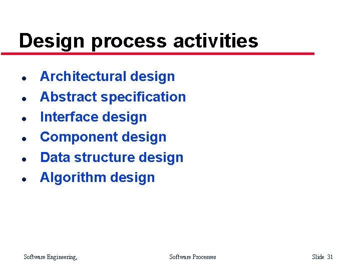 Design process activities l l l Architectural design Abstract specification Interface design Component design