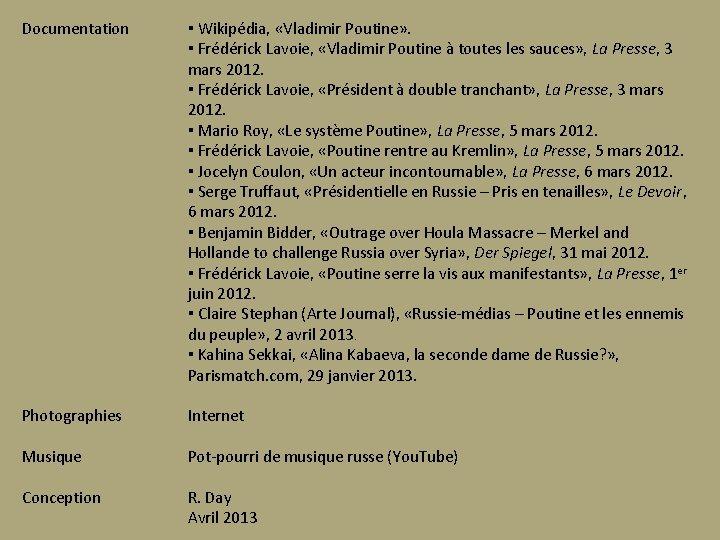 Documentation ▪ Wikipédia, «Vladimir Poutine» . ▪ Frédérick Lavoie, «Vladimir Poutine à toutes les