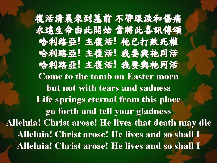 復活清晨來到墓前 不帶眼淚和傷痛 永遠生命由此開始 當將此喜訊傳頌 哈利路亞! 主復活! 祂已打敗死權 哈利路亞! 主復活! 我要與祂同活 Come to the tomb