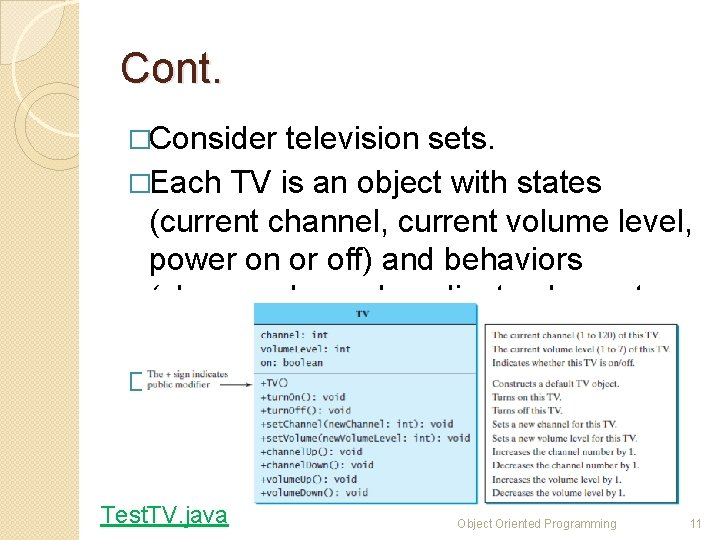 Cont. �Consider television sets. �Each TV is an object with states (current channel, current