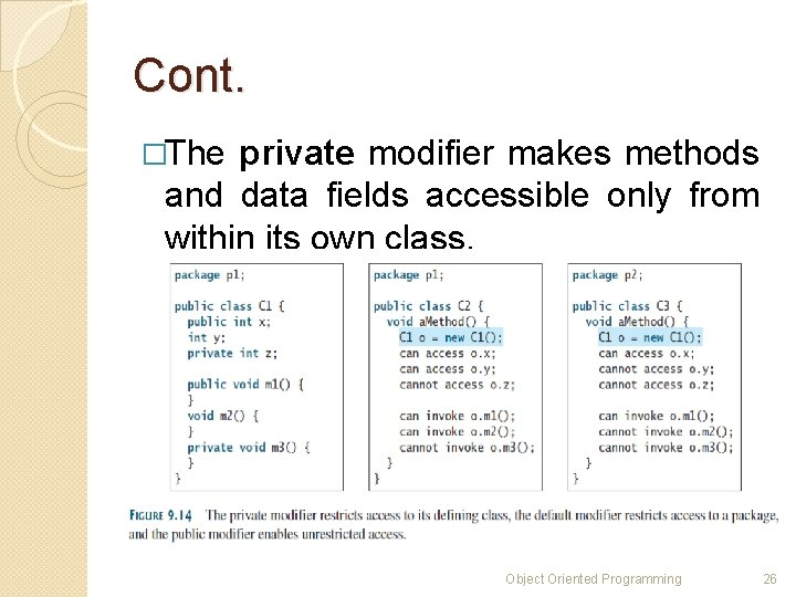 Cont. �The private modifier makes methods and data fields accessible only from within its