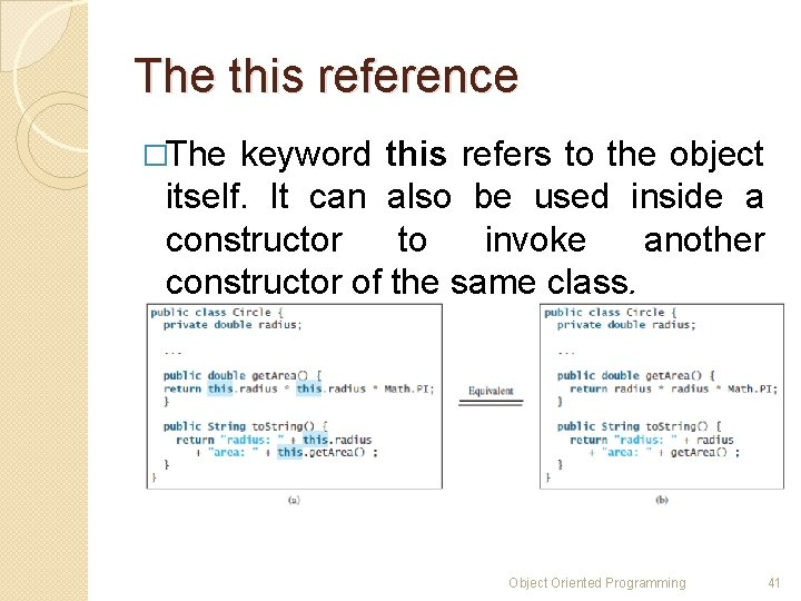 The this reference �The keyword this refers to the object itself. It can also