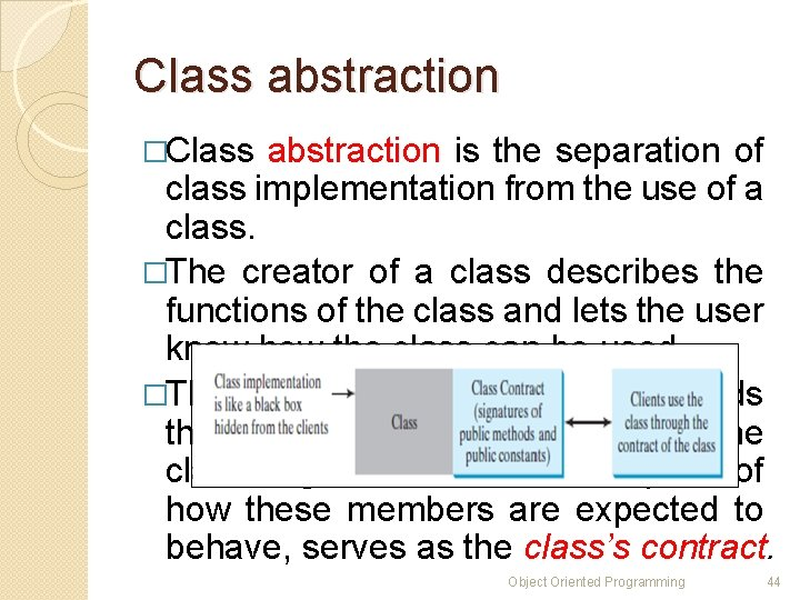 Class abstraction �Class abstraction is the separation of class implementation from the use of
