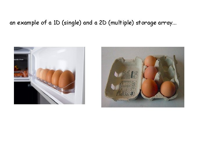 an example of a 1 D (single) and a 2 D (multiple) storage array.
