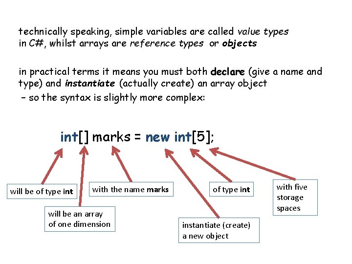 technically speaking, simple variables are called value types in C#, whilst arrays are reference