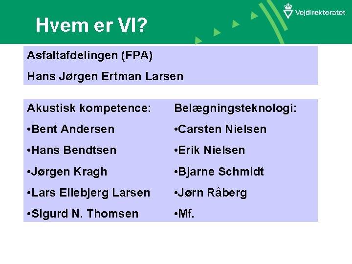 Hvem er VI? Asfaltafdelingen (FPA) Hans Jørgen Ertman Larsen Akustisk kompetence: Belægningsteknologi: • Bent