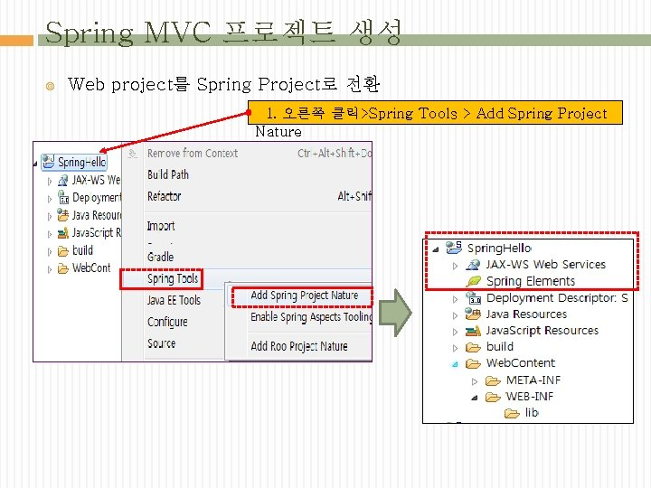 Spring MVC 프로젝트 생성 Web project를 Spring Project로 전환 1. 오른쪽 클릭>Spring Tools >