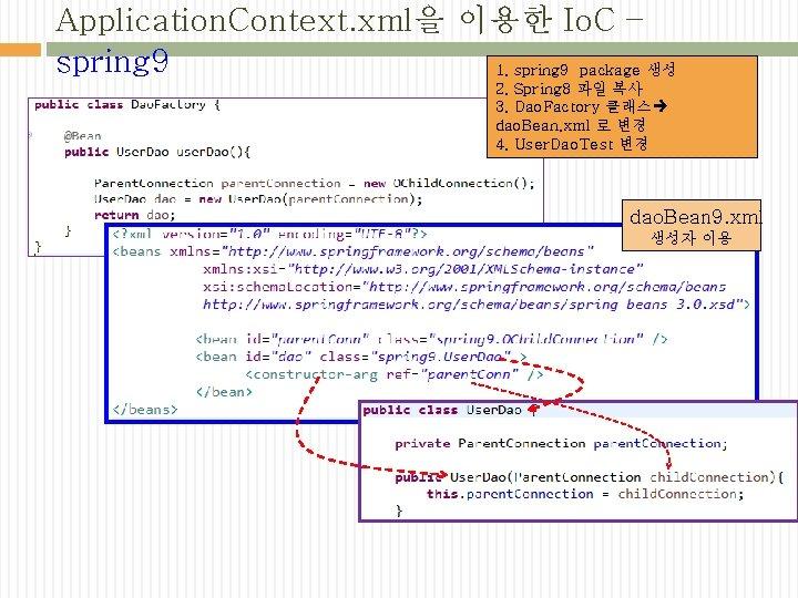 Application. Context. xml을 이용한 Io. C – spring 9 1. spring 9 package 생성
