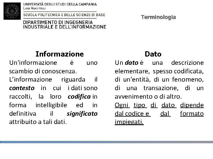 Terminologia Informazione Un'informazione è uno scambio di conoscenza. L'informazione riguarda il contesto in cui