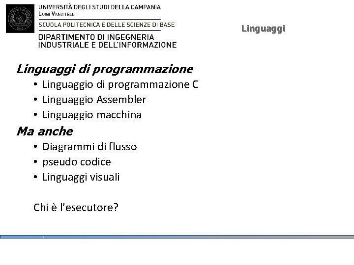 Linguaggi di programmazione • Linguaggio di programmazione C • Linguaggio Assembler • Linguaggio macchina