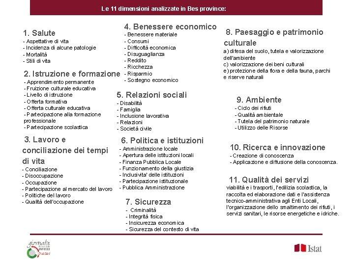 Le 11 dimensioni analizzate in Bes province: 4. Benessere economico 1. Salute - Aspettative