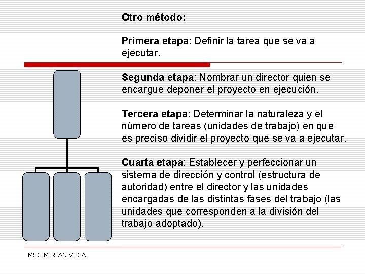 Otro método: Primera etapa: Definir la tarea que se va a ejecutar. Segunda etapa: