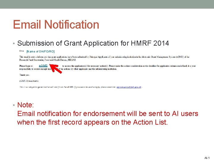 Email Notification • Submission of Grant Application for HMRF 2014 [Name of DH/FO/RO] e.