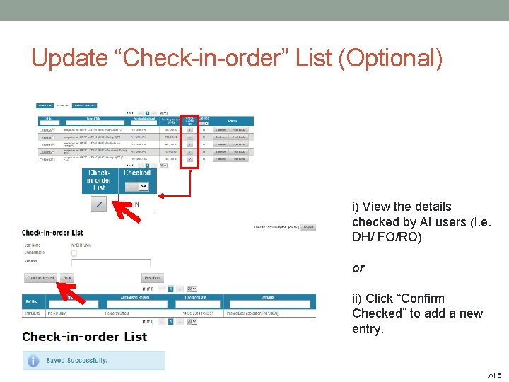 """Update """"Check-in-order"""" List (Optional) i) View the details checked by AI users (i. e."""