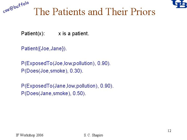 alo @ cse f buf The Patients and Their Priors Patient(x): x is a