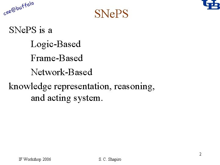 alo f buf @ cse SNe. PS is a Logic-Based Frame-Based Network-Based knowledge representation,