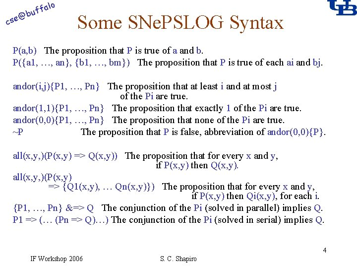 alo f buf @ cse Some SNe. PSLOG Syntax P(a, b) The proposition that