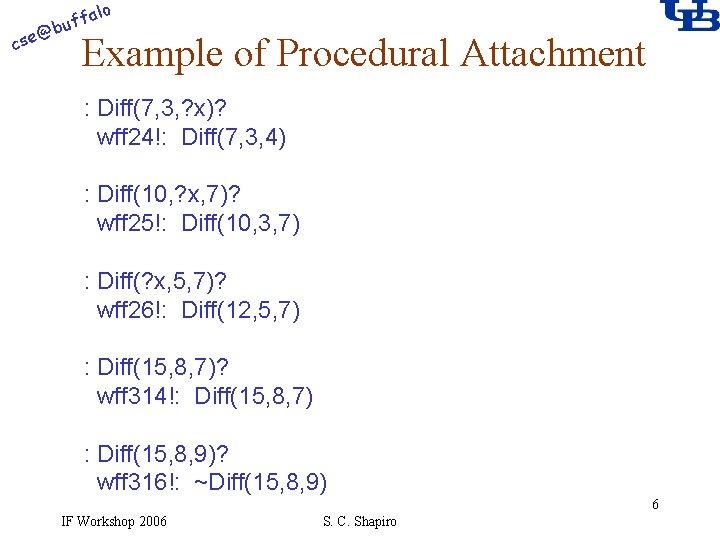 alo @ cse f buf Example of Procedural Attachment : Diff(7, 3, ? x)?
