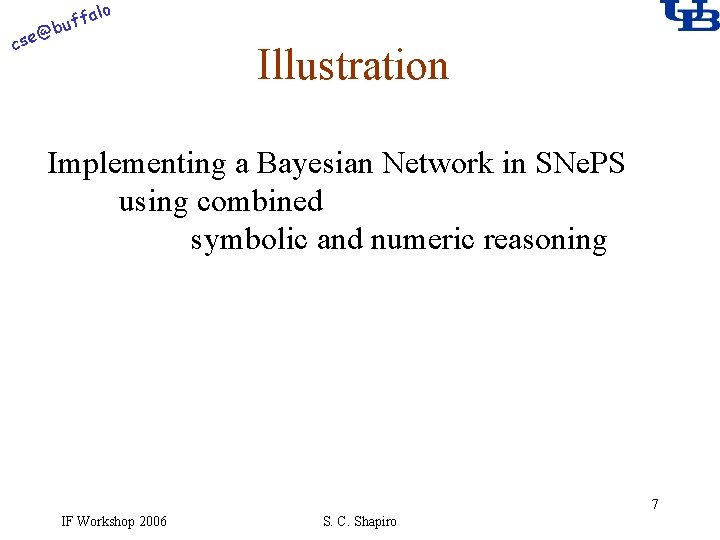alo f buf @ cse Illustration Implementing a Bayesian Network in SNe. PS using