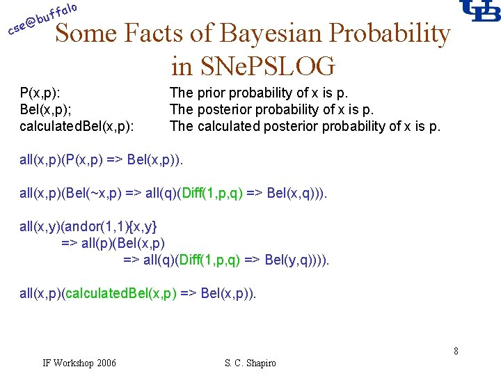 alo f buf @ cse Some Facts of Bayesian Probability in SNe. PSLOG P(x,