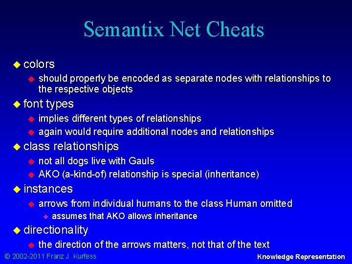 Semantix Net Cheats u colors u should properly be encoded as separate nodes with