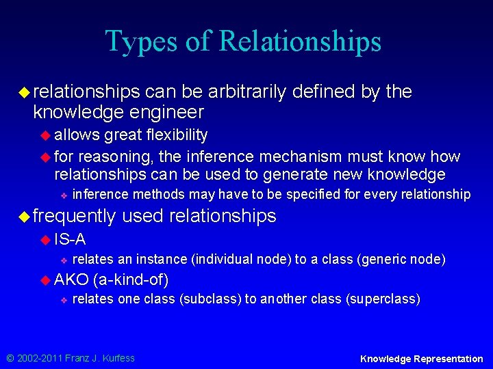 Types of Relationships u relationships can be arbitrarily defined by the knowledge engineer u