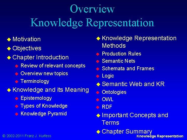 Overview Knowledge Representation u Knowledge u Motivation Methods u Objectives u Chapter u u