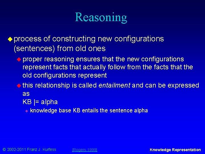 Reasoning u process of constructing new configurations (sentences) from old ones u proper reasoning