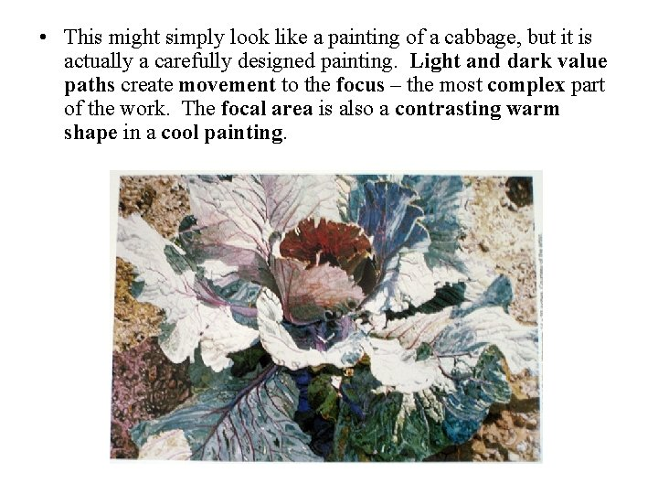 • This might simply look like a painting of a cabbage, but it