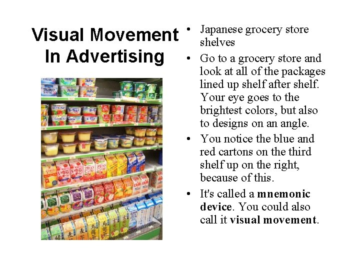 • Japanese grocery store Visual Movement shelves In Advertising • Go to a