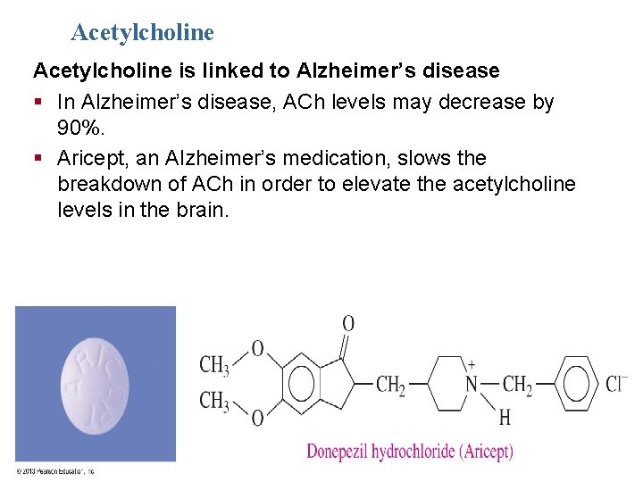 Acetylcholine is linked to Alzheimer's disease § In Alzheimer's disease, ACh levels may decrease