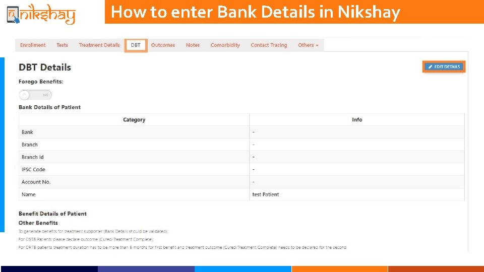 How to enter Bank Details in Nikshay