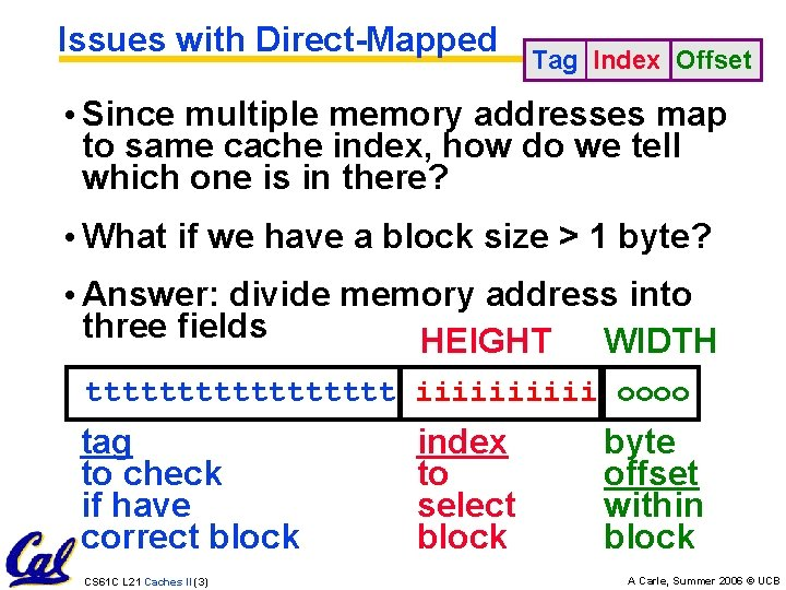 Issues with Direct-Mapped Tag Index Offset • Since multiple memory addresses map to same