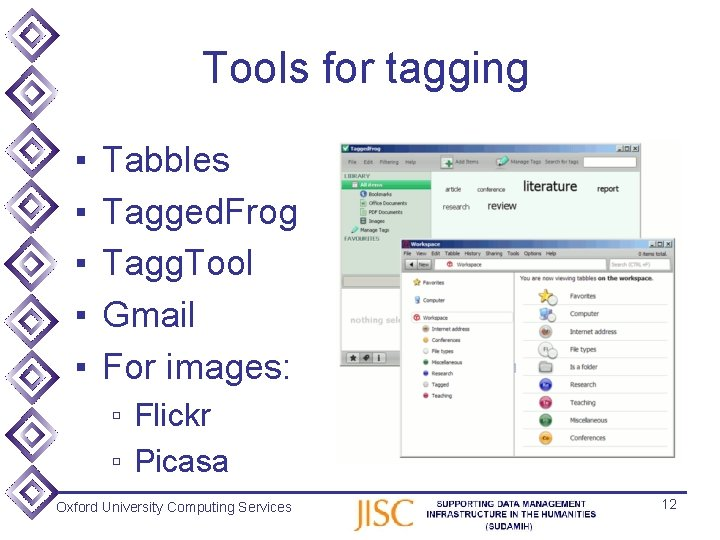 Tools for tagging ▪ ▪ ▪ Tabbles Tagged. Frog Tagg. Tool Gmail For images: