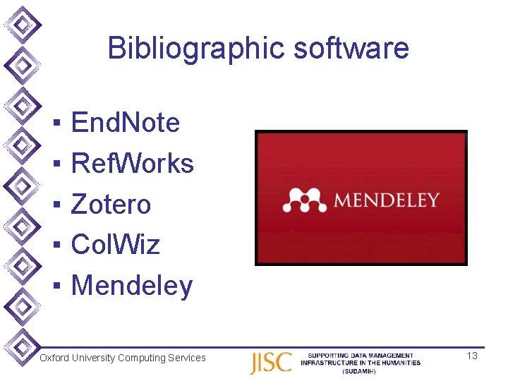 Bibliographic software ▪ ▪ ▪ End. Note Ref. Works Zotero Col. Wiz Mendeley Oxford