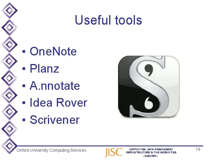Useful tools ▪ ▪ ▪ One. Note Planz A. nnotate Idea Rover Scrivener Oxford