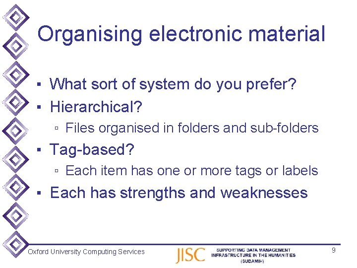 Organising electronic material ▪ What sort of system do you prefer? ▪ Hierarchical? ▫
