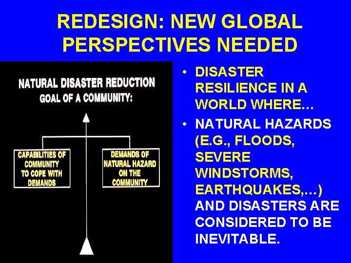 REDESIGN: NEW GLOBAL PERSPECTIVES NEEDED • DISASTER RESILIENCE IN A WORLD WHERE… • NATURAL