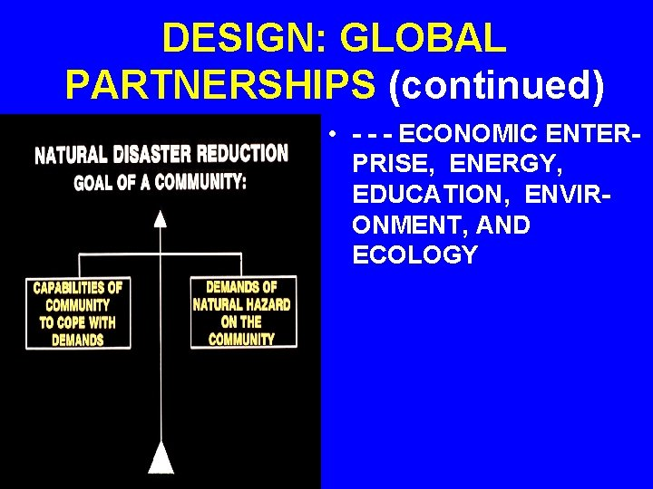 DESIGN: GLOBAL PARTNERSHIPS (continued) • - - - ECONOMIC ENTERPRISE, ENERGY, EDUCATION, ENVIRONMENT, AND